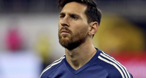 Jun 21, 2016; Houston, TX, USA; Argentina midfielder Lionel Messi (10) stands for the national anthem before the match against the United States in the semifinals of the 2016 Copa America Centenario soccer tournament at NRG Stadium. Mandatory Credit: Kevin Jairaj-USA TODAY Sports - RTX2HI4F